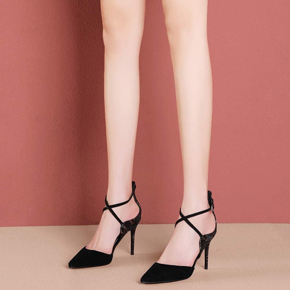 MYXUAA Sandales Stiletto pour femmes, chaussures à talons hauts et pompes pour chaussures de mariage Black