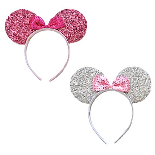 Mini Mouse Headband w/Ribbon Bow - 2 Pcs Assorted Color Set (Svr-pk) (Girls Mini Mouse Costume)