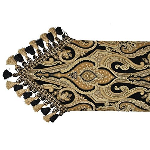 Single Piece Black Home Decor Luxury Table Runner, 13x108 Size Paisley Pattern, Polyester Material, Abstract Graphic Design Runner, Vibrant Beige