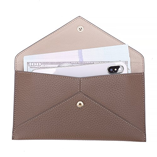 Zipper Organizer Card Pocket Envelope Wallet with Phone Womens Khaki Coin Clutch Leather Holder PWvfx8nf