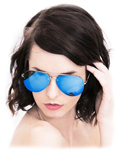 O2 Eyewear 1398 Premium Teardrop Rimless Mirror Metal Aviator Sunglasses Womens Mens (Rimless, - Aviator Sunglasses Biggest