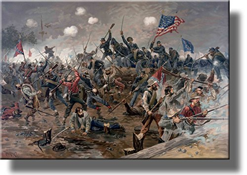 Civil War Battle Picture on Stretched Canvas Wall Art Decor, Ready to Hang! (Civil War Pictures Framed)