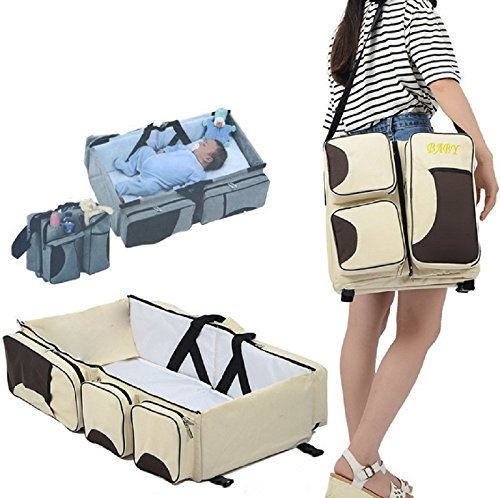 3 in 1 Diaper Bag - Travel Bassinet - Change Station - Multi-purpose,A Lounge to go, Tote Bag, Infant Carrycot, Nursery Porta Crib (Beige) by Y&M