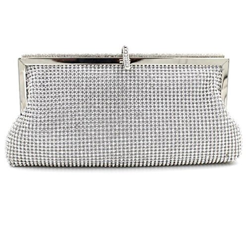 HMaking Soft Clutch Women Crystal Clutch Evening Bag( Sliver) (Girls Bag Silver)