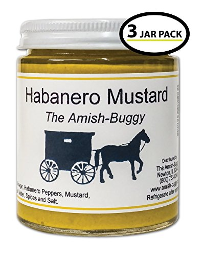 Amish Mustards - Habanero - 7 Oz Jar - Pkg of 3 Jars (Mustard Habanero)