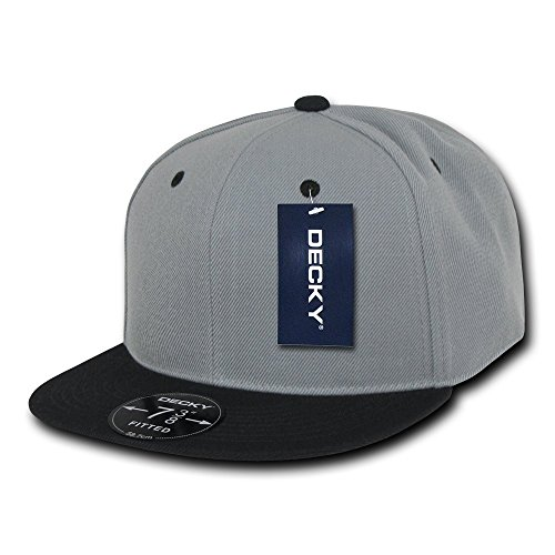 DECKY Retro Fitted Cap, Grey/Black, 7 3/4 ()