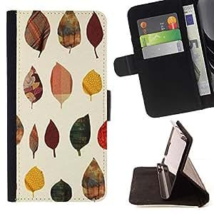 For Sony Xperia Z5 (5.2 Inch) / Xperia Z5 Dual (Not for Z5 Premium 5.5 Inch) Case , Hojas de poli Arte Minimalista- la tarjeta de Crédito Slots PU Funda de cuero Monedero caso cubierta de piel