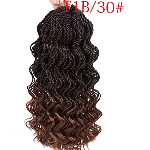 Firstcyh Hair 6 Packs Wavy Senegalese Twist Crochet Hair Braids Wavy Ends Free Synthetic Hair Kanekalon Braiding Hair Havana Mombo Dreadlocks Extensions14 inch 35 Strands/Pack.(14.T1B/30)