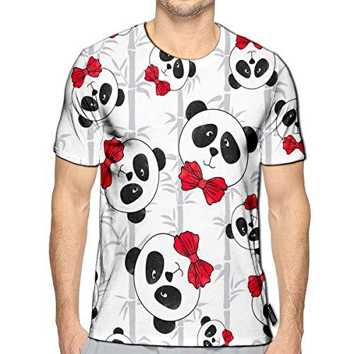 3D Printed T-Shirts Panda and Bamboo Cute Cartoon Watercolor Bears Short Sleeve Tops Teesa