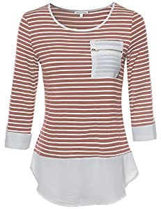 Contemporary Chic Round Neck Stripe Top Rolled Up Sleeves Rose S Size