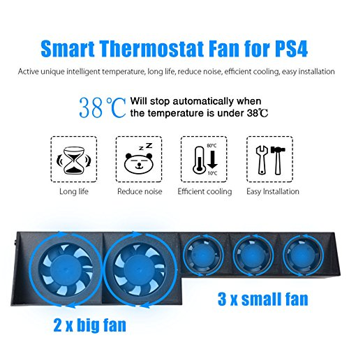 PS4 Cooler Fan, SQDeal [U.S. warranty] Smart Thermostat External USB Cooling Super Turbo 5 Fans Cooler for Sony Playstation 4 PS4 Gaming Console (Black)