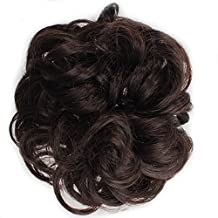 Onedor Ladies Synthetic Wavy Curly or Messy Dish Hair Bun Extension Hairpiece Scrunchie Chignon Tray Ponytail (4#-Dark Brown)