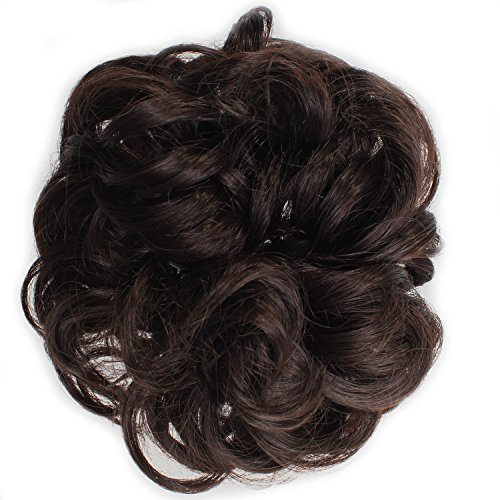 [OneDor® Ladies Synthetic Wavy Curly or Messy Dish Hair Bun Extension Hairpiece Scrunchie Chignon Tray Ponytail (4#-Dark] (Curly Synthetic Hair)