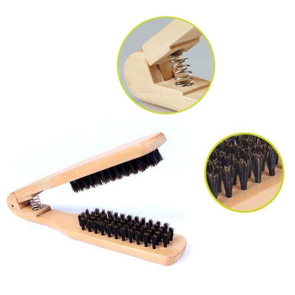 YC electronics Hair Brush Hair Comb Professional Double Brushes Hairdressing Comb V Type Straight Hair Brush Wooden Handle Anti-Static Hairs Styling Tools by YC electronics
