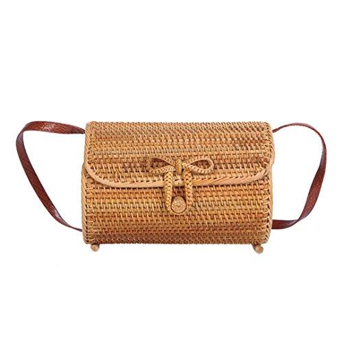 N Manualbages Women Straw Beach Bags Travel Summer Female Bag Lady Shoulder Handmade Vintage Weave Yellow Yellow Crossbody Ss3075