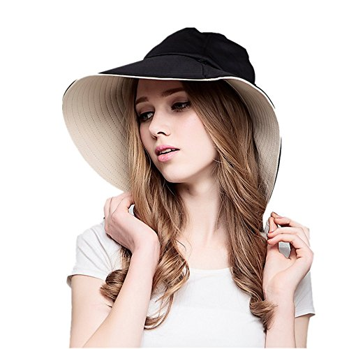 EsTong Women Reversible Bucket Hat UV Sun Protection Wide Brim Summer Beach (Reversible Uv Protection Hat)