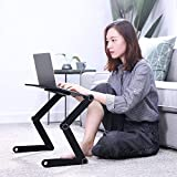 Adjustable Laptop Table for Home Office, Dinner TV Bed Tray with Ergonomics Design, Folable Reading Writing Stand for Study, PC Lap Desk Notebook Holder, Sitting With 2 CPU Cooling Fans