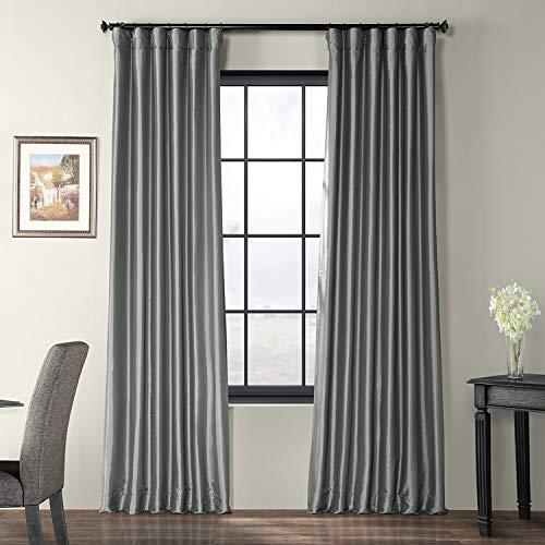 (Half Price Drapes PTCH-JTSP112-120 Faux Silk Taffeta Curtain, Platinum)