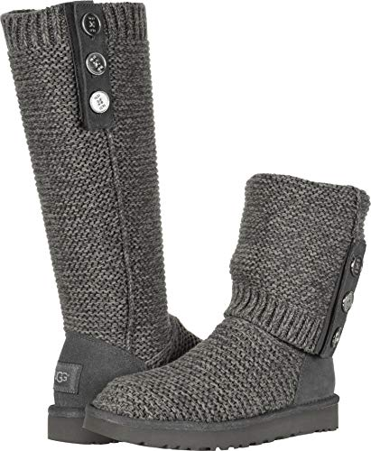 UGG Women's W Purl Cardy Knit Fashion Boot, Charcoal, 7 M US