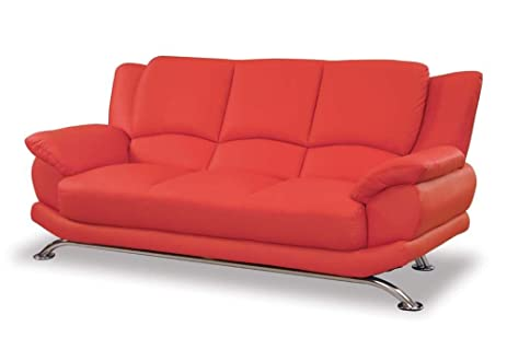 Contemporary High Back Leather Sofa In Red   9908