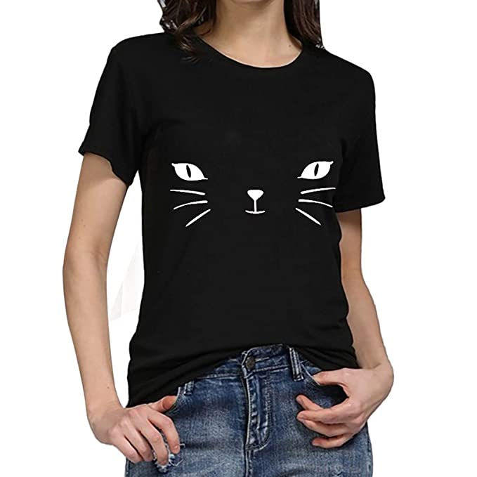 a613f7f8 Women Girls Summer Plus Size Cat Printed Short Sleeve T Shirts Juniors Cute  Funny Loose Graphic