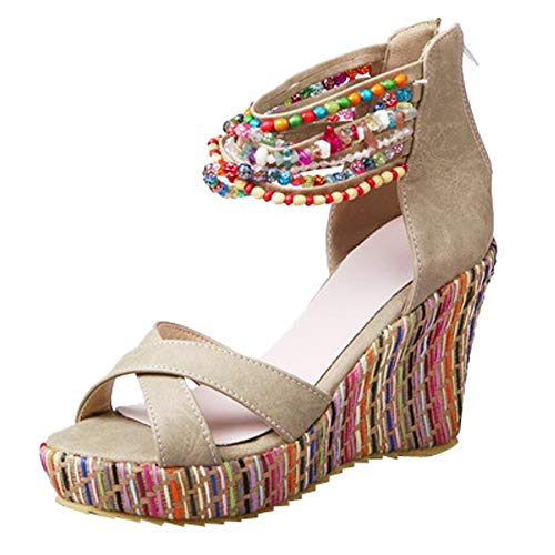 PENGYGY Fashion Women's Bohemian Flat Wedges Handmade Beaded Sandals by Pengy--Shoes