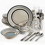 32-Piece Stylish Stoneware Cannon Blue Dinnerware Combo Set