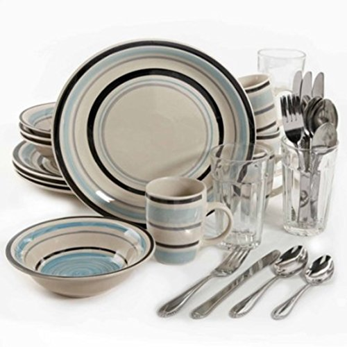32-Piece Stylish Stoneware Cannon Blue Dinnerware Combo Set by Gibson Dinnerware Collection