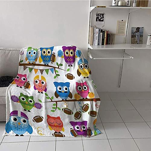 Custom homelife Children's Blanket Boys Warm All Season Blanket for (50 by 70 Inch,Owls,Sporty Owls Cheerleader League Team Coach Football Themed Animals Cartoon Art Style,Multicolor