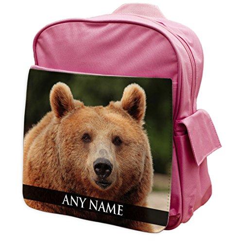 personalisierbar braun Bear Animal Pink Rucksack Rucksack 057