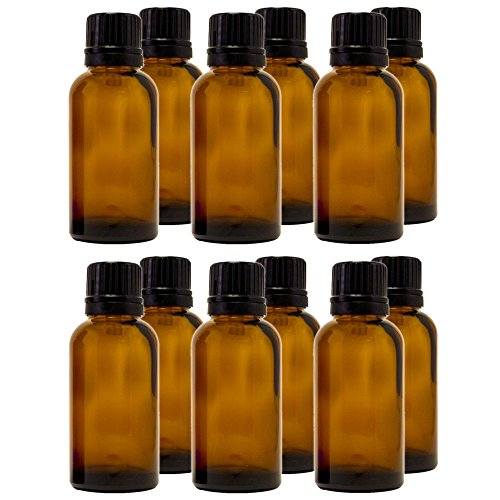 30 ml 1 fl oz Amber Glass Bottle with Euro Dropper 12 Pack
