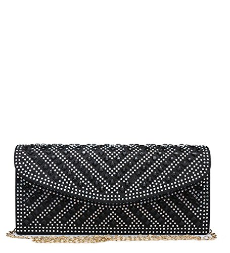 Ladies Party Purse Black Glitter Evening Bag Women's Envelope ME68038 Diamante Handbag Clutch OOSr0q