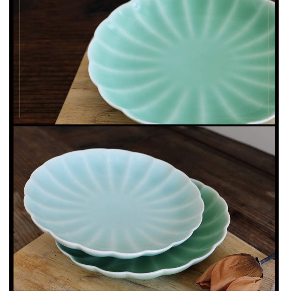 Celadon Dish Household 8 Inch Ceramic Household Dish Creative Personality Fruit Plate Dish (Design : B) by Porcelain plate (Image #3)