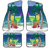 Tropical Beach Drinks Auto Car Floor Mats (Full Set of 4) (Full set of 4)