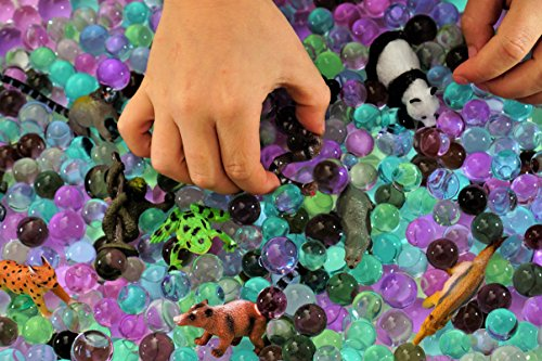 Dew Drops Water Beads Jungle Excursion Tactile Sensory Toys Bin Kit - Rain Forest Toy Animals Included]()