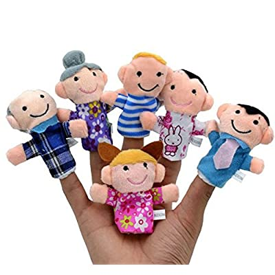 HIGHROCK 6pcs Family Finger Puppets - People Includes Mom, Dad, Grandpa, Grandma, Brother, Sister: Toys & Games