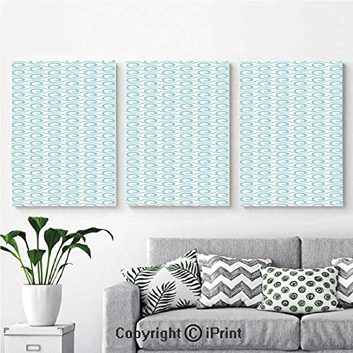 Modern Salon Theme Mural Classical Compact Design of Zigzags Upped Simplistic Texture Tile Horizontal Painting Canvas Wall Art for Home Decor 24x36inches 3pcs/Set, Light Blue White ()