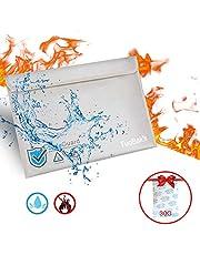 Sac à Documents Ignifuge,Pochette Enveloppe Ignifuge,Pochette Anti Feu,Sac de Documents Résistant au feu,Fibre de Verre Couche de Velcro Zippé imperméable et déshydratant Gel de silice 30g (40 * 28cm)
