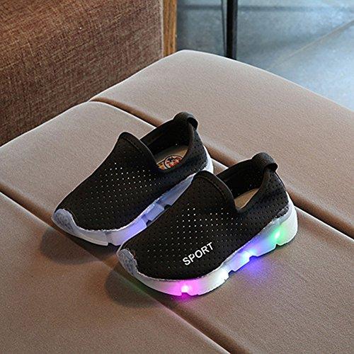 Los Muchachos Ligeros Cabrito Suave Del Zapatos De Negro Antideslizante Muchachos Flash en Resbalón niños qExW64