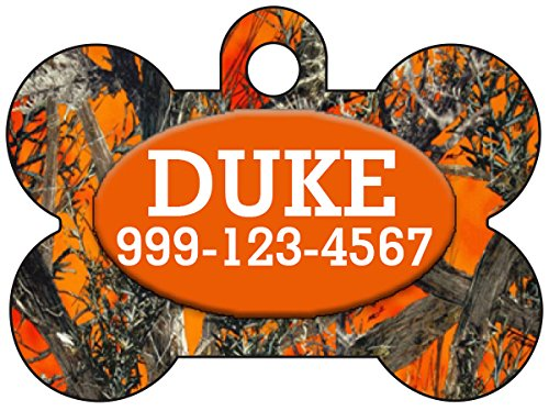 Camo Dog Tag Pet Id Tag Personalized w/Your Pet's Name & Number (Orange Realtree)