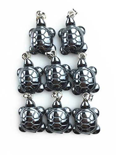 JCGJ Sea Turtle Pendant Carved Hematite Necklace For Jewelry Making(8pcs,0.71
