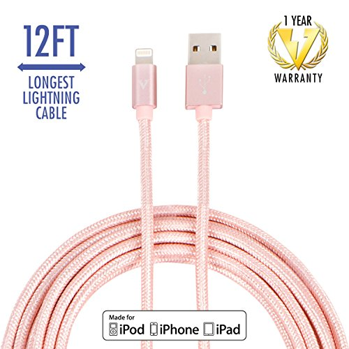 vCharged Pink/Rose Gold 12 FT Longest Lightning Cable Nylon Braided USB Charging Cable Cord for iPhone & - Premium Outlets Nearest