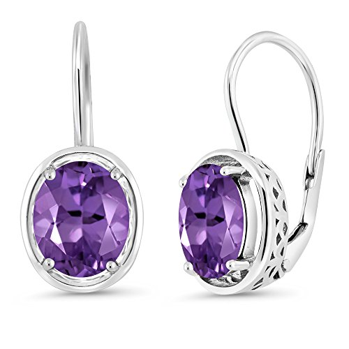 (Gem Stone King 925 Sterling Silver Natural Purple Amethyst Dangle Earrings 3.32 Ct Oval Gemstone Birthstone 9X7MM)