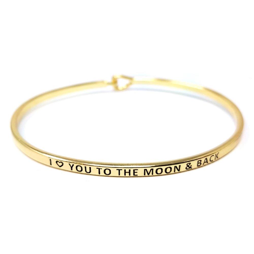 Me Plus Inspirational ''I LOVE YOU TO MOON & BACK'' Positive Message Engraved Thin Bangle Hook Bracelet (Gold, brass)