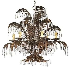 Largo 6 Light Antique Brass Palm Frond Coastal Beach Crystal Chandelier