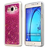 bling bumper case - Galaxy On5 Case, ESEEKGO Floating Liquid Case for On5 Soft Cover TPU Bumper Bling Case (Hot Pink)