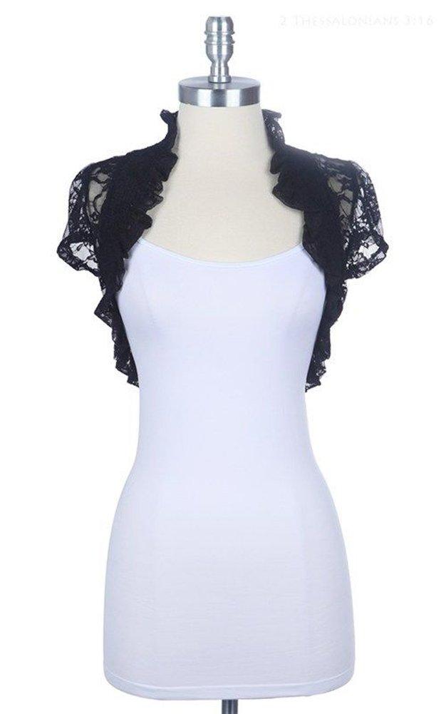 Women's Short Sleeve Lace Smoked Shrug Bolero, Cropped Jacket Short Cardigan