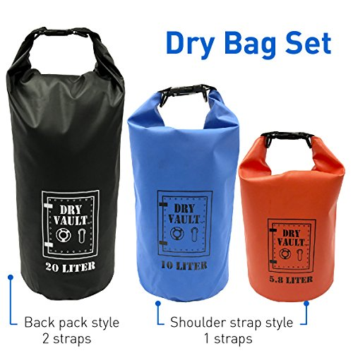 3 Bag Set - DRY VAULT – DRY BAG SETS – 500D PVC Tarpaulin – 20L, 10L, 5.8L with shoulder straps - WEATHERPROOF - WATERPROOF BAGS - BEST DEAL ON AMAZON - 100% Guaranteed -3 QUALITY Bags for Price of 1 by EasyGoProducts (Image #6)