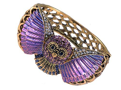 Alilang Lavendar Purple Painted Owl Bird Wing Silvery Tone Crystal Rhinestone Bangle Cuff