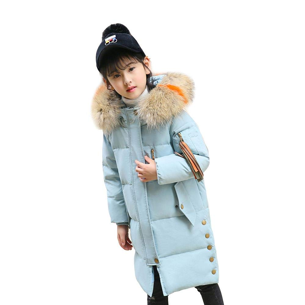Girls Down Parkas with Fur Hood White Duck Down Jacket Winter